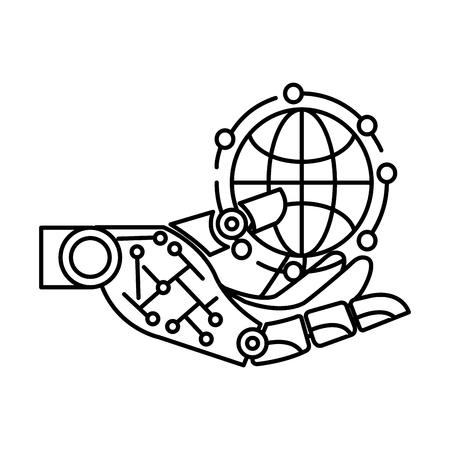 robotic hand with sphere vector illustration design Stock Illustratie