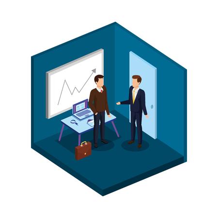 paar mannen in het kantoor avatars karakters vector illustratie ontwerp