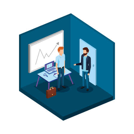 couple of men in the office avatars characters vector illustration design Stock Illustratie