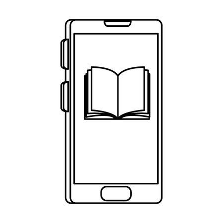smartphone with electronic book vector illustration design Ilustração