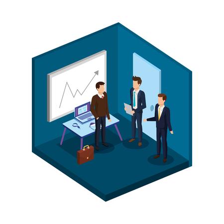 group of men in the office avatars vector illustration design