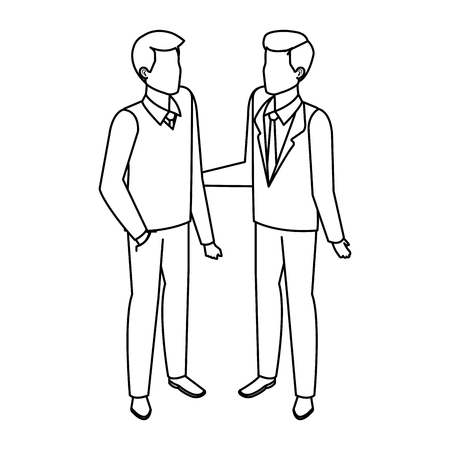 couple of men avatars characters vector illustration design
