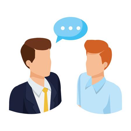 couple of men with speech bubble vector illustration design Stock fotó - 127009153