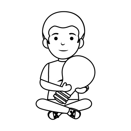 little schoolboy with bulb vector illustration design