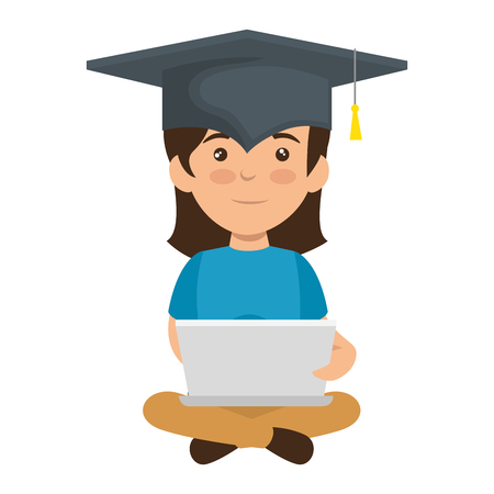 little schoolgirl with laptop and hat graduation vector illustration design