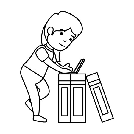 little schoolgirl with laptop and books vector illustration design