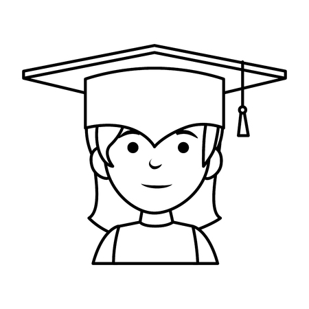 little schoolgirl with hat graduation vector illustration design Illustration