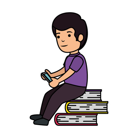 little schoolboy with smartphone and books vector illustration design