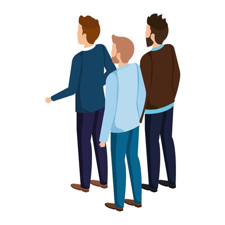 group of men avatars characters vector illustration design Illusztráció