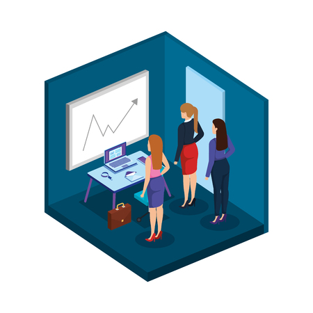 group of businesswomen in the office vector illustration design