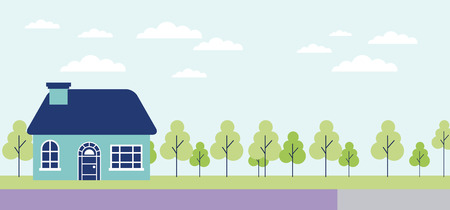 outdoor nature trees house clouds vector illustration Illusztráció