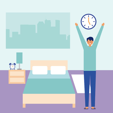 man stretching waking up in the room vector illustration