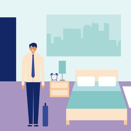 attività quotidiana uomo d'affari felice in illustrazione vettoriale camera da letto