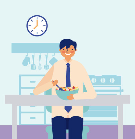 daily activity man eating fruits vector illustration Çizim