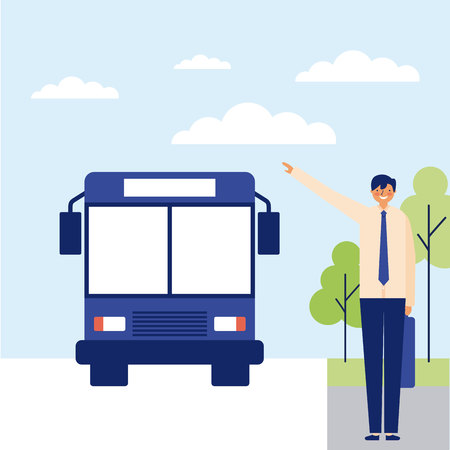 daily activity man taking the bus to work vector illustration