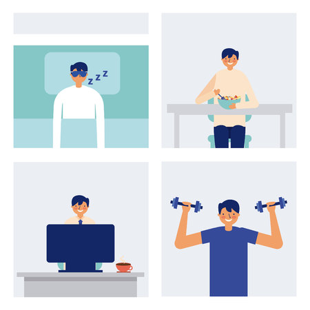 daily activity man sleeping eating and exercise vector illustration