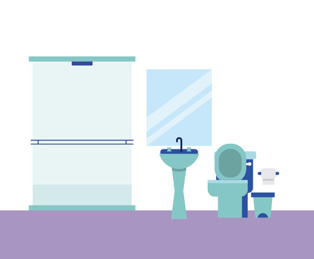 bathroom house mirror shower paper vector illustration