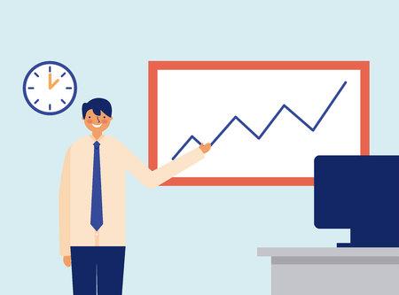 daily activity man office presentation vector illustration