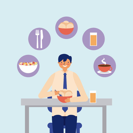 daily activity businessman eating lunch vector illustration Illusztráció