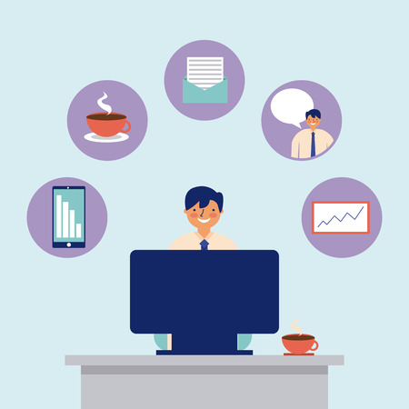 daily activity computer man office work vector illustration