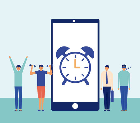 smartphone screen clock man daily activies vector illustration