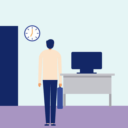 daily activity man giving back office vector illustration
