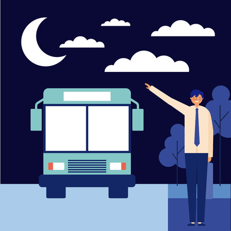nigth man taking bus daily activity vector illustration