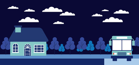 night trees house stop bus vector illustration
