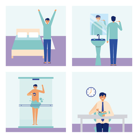 banners man doing daily activity vector illustration Vettoriali