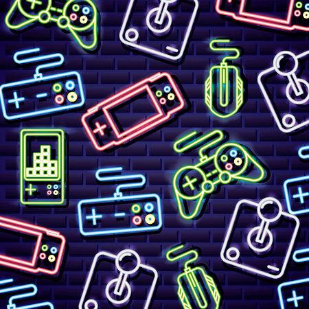 i videogiochi al neon controllano l'illustrazione di vettore del fondo del topo di tetris
