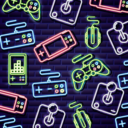 Neon-Videospiele steuert Tetris-Maus-Hintergrund-Vektor-Illustration