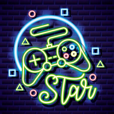 video game neon control symbols background vector illustration
