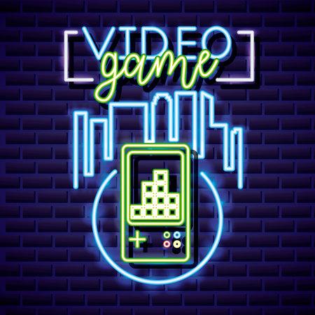 video game circle tetris play neon vector illustration