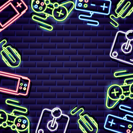 gry wideo kontrolują neonową ilustrację wektorową tła