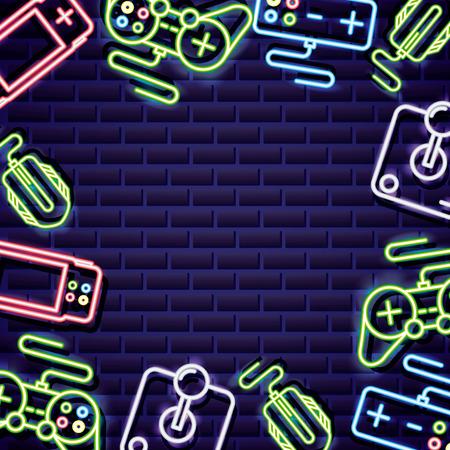 Los videojuegos controlan la ilustración de vector de fondo de neón