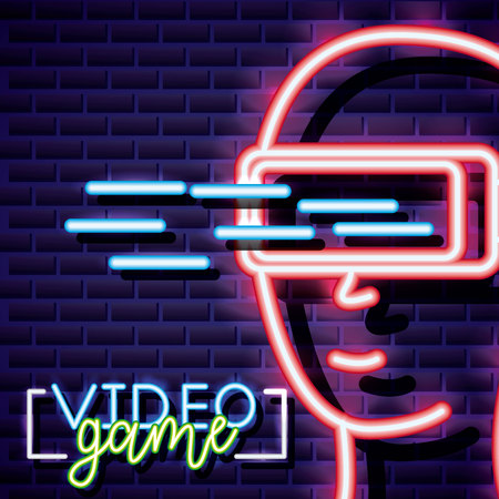 neon video game glass of virtual reality vector illustration