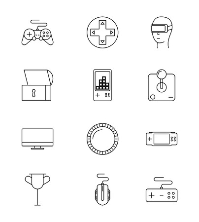 glass of virtual reality controls coins video game vector illustration