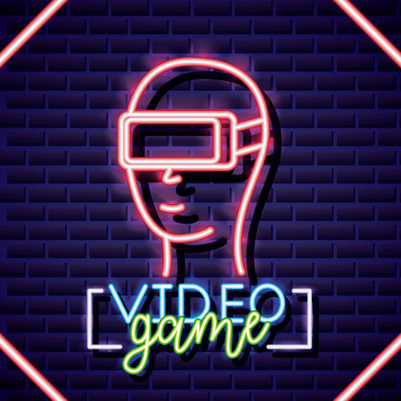 neon video game man using glass of virtual reality vector illustration