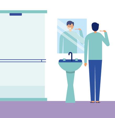 boy brushing teeth daily activity vector illustration