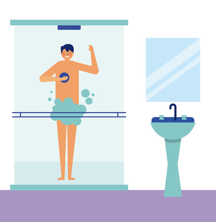 daily activity man taking a shower vector illustration 向量圖像