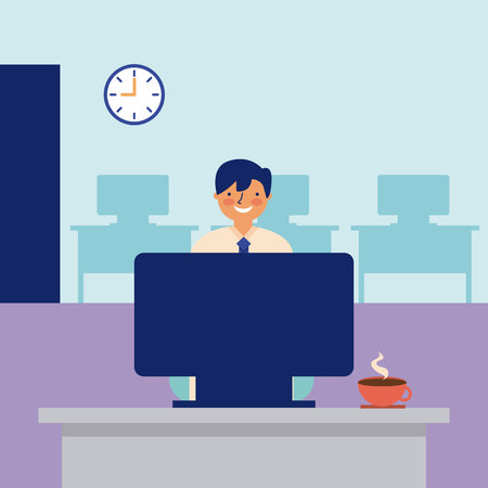 smiling man working office daily activity vector illustration