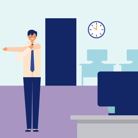 daily activity boy office vector illustration