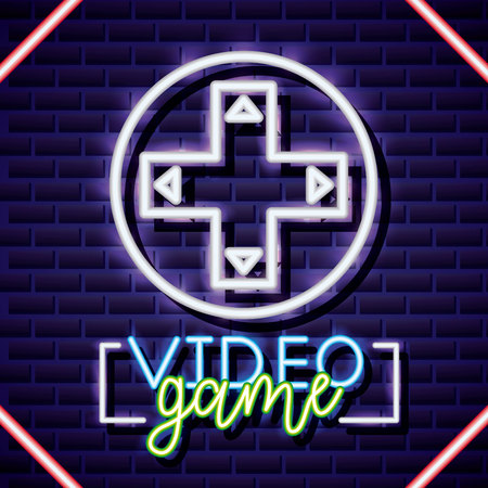 video game arrow control play neon vector illustration 스톡 콘텐츠 - 126819763