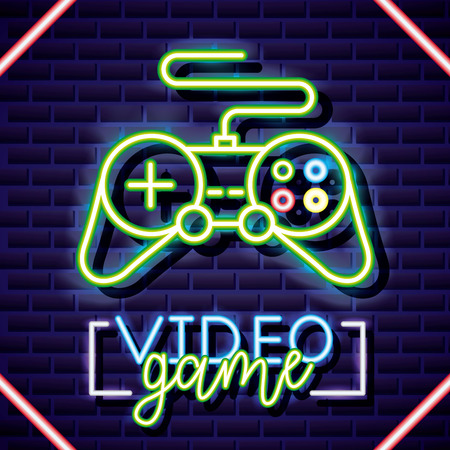 neon control video game sign vector illustration