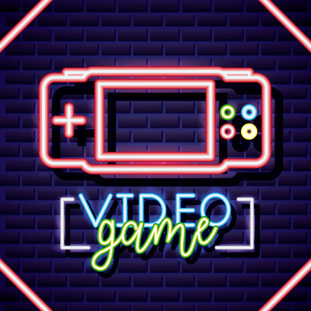 neon video game figure style vector illustration