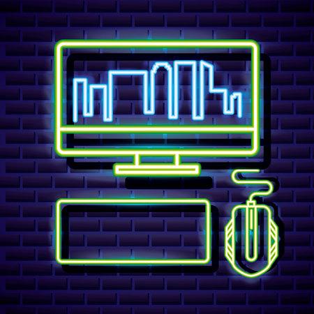 computer play neon video game vector illustration Illustration