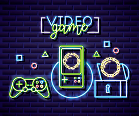 neon video game sign controls chest coins vector illustration