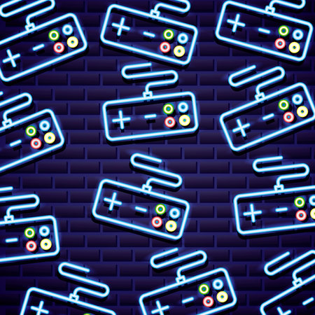 control video game neon background vector illustration