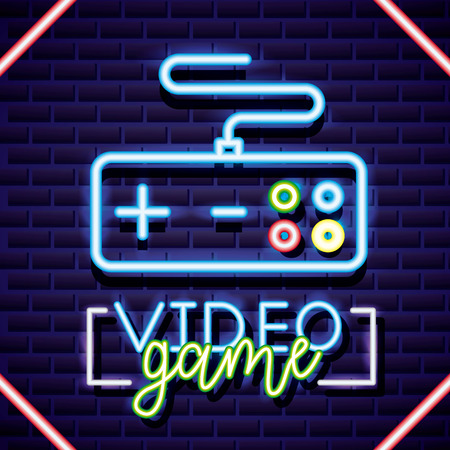 video game control figure neon sign vector illustration 스톡 콘텐츠 - 126819771