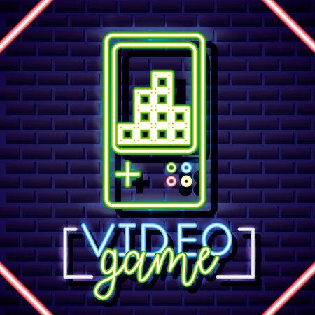 video game tetris play neon sign vector illustration